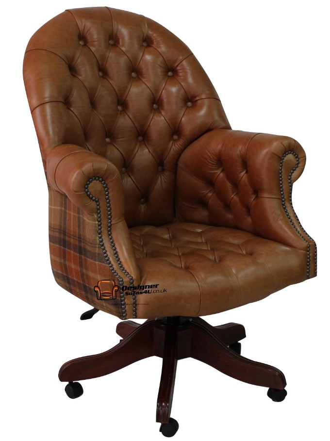 Chesterfield Directors Leather Office Chair Old English Tan Leather And Caramel Wool