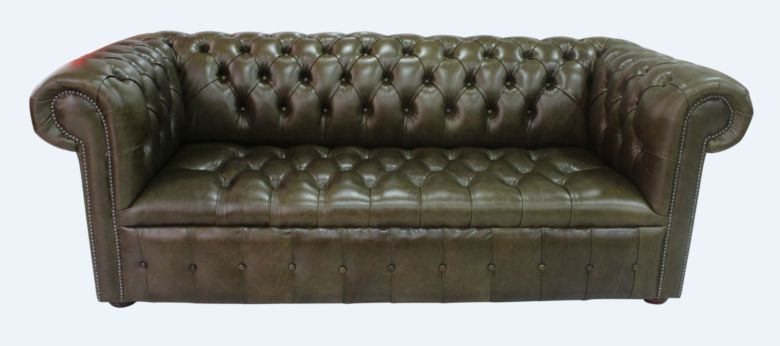 Chesterfield 3 Seater Settee Buttoned Seat Old English Alga Leather Sofa