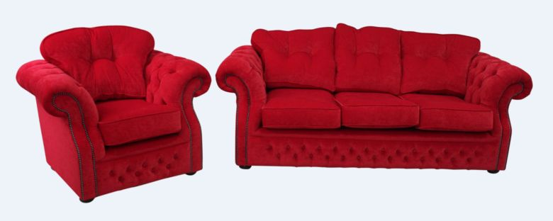 Chesterfield Era 3+1 Sofa Suite Traditional Chesterfield Rouge Red Fabric