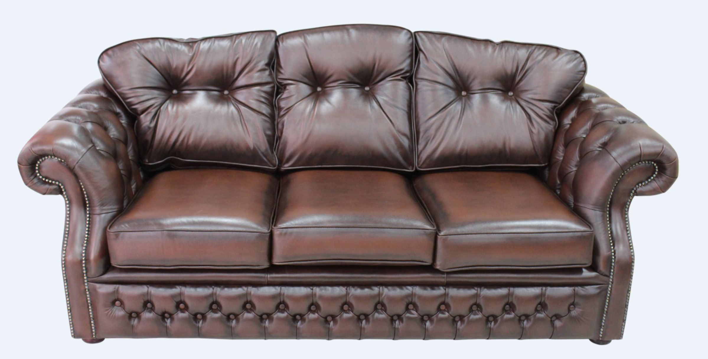 Chesterfield Era Brown Leather Traditional 3 Seater Settee
