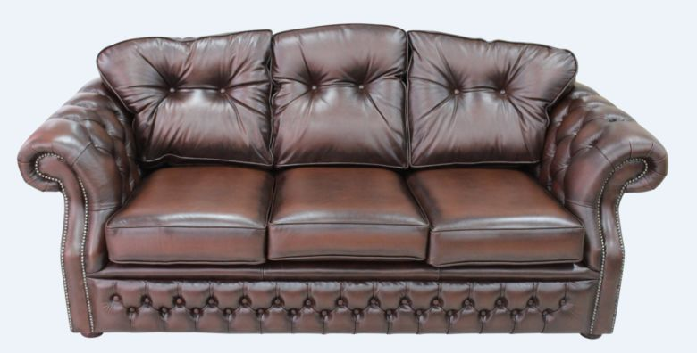 Chesterfield Era Brown Leather Traditional 3 Seater Settee | DesignerSofas4U