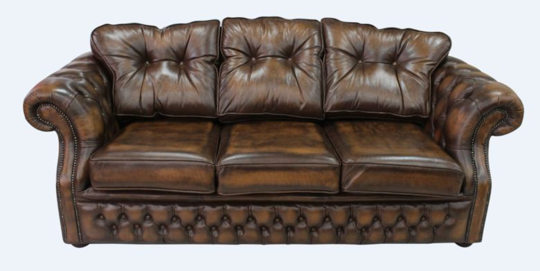 Chesterfield Era Tan Leather Traditional 3 Seater Settee | DesignerSofas4U