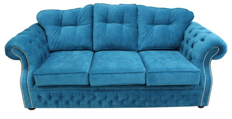 Chesterfield Era 3 Seater Settee Traditional Chesterfield Sofa Danza Teal Fabric