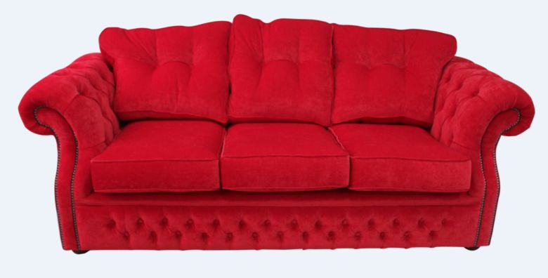 Chesterfield Era 3 Seater Settee Traditional Chesterfield Sofa Rouge Red Fabric