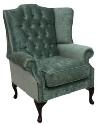 Chesterfield Mallory Flat Wing High Back Wing Chair Pastiche Jade Green Velvet