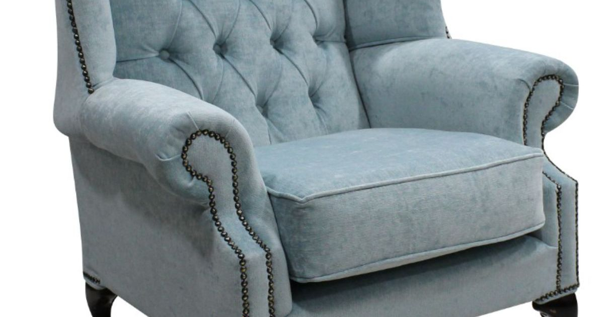 Duck Egg Blue Chesterfield Mallory Wing Chair