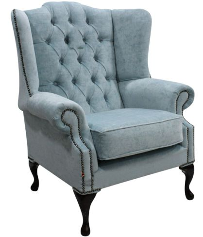 Chesterfield Mallory High Back Fabric Wing Chair Duck Egg Blue Fabric
