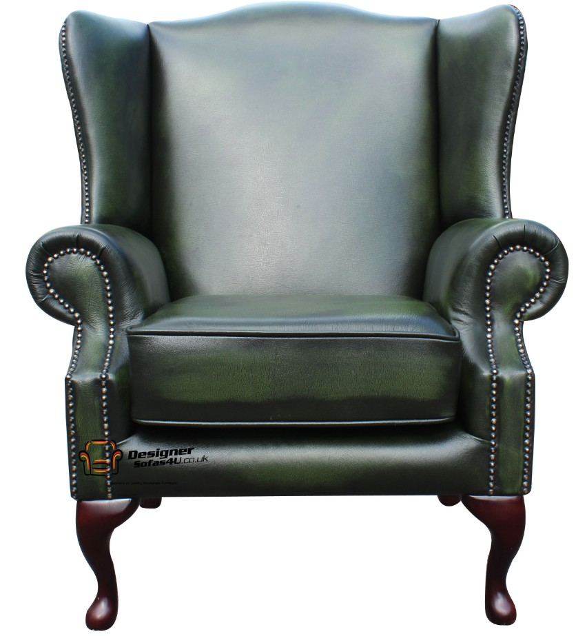 1c8a167fb6f ... Chesterfield Flat Wing Saxon High Back Wing Chair Antique Green Leather  ...