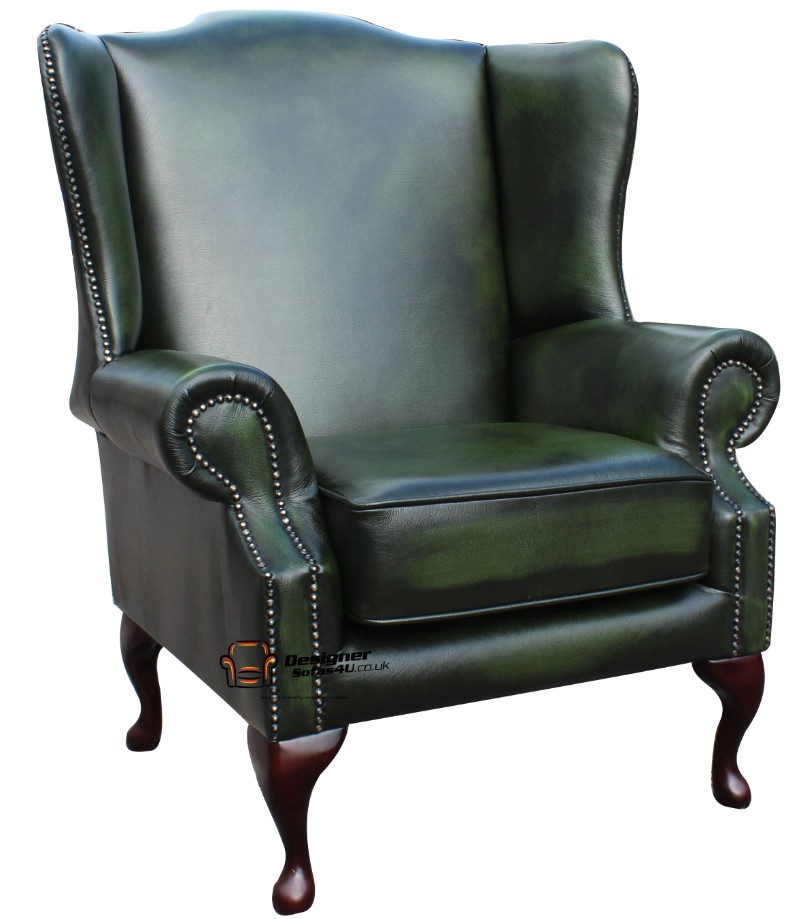 857a8e29eec ... Chesterfield Flat Wing Saxon Wing Chair Antique Green Leather