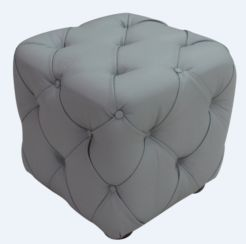 Chesterfield Buttoned Cube Pouffe Footstool Moon Mist Grey Leather