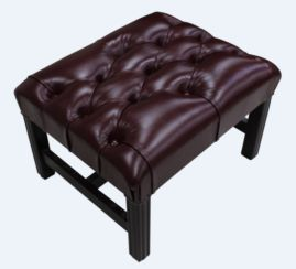 Chesterfield H Frame Footstool Newcastle Burgandy Leather