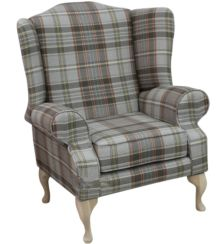Chesterfield Frederick Saxon Wing Chair Fireside High Back Armchair Lancaster Check Slate Fabric