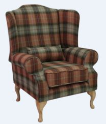 Chesterfield Frederick Wool Wing Chair Fireside High Back Armchair Chestnut Tree Check Tweed