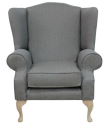 Chesterfield Frederick Saxon Wing Chair Fireside High Back Armchair Rutland Slate Fabric