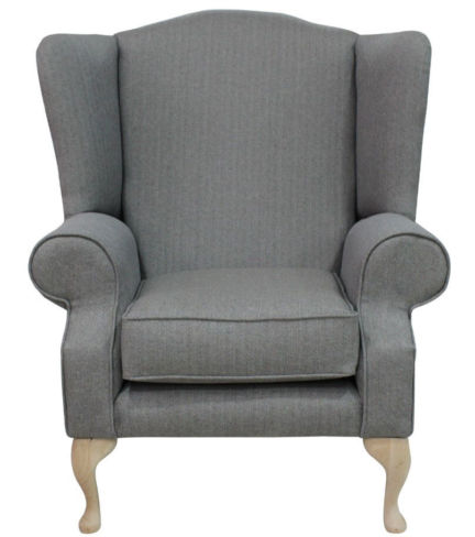 Plain Grey Chesterfield Fredrick High Back Armchair | DesignerSofas4U