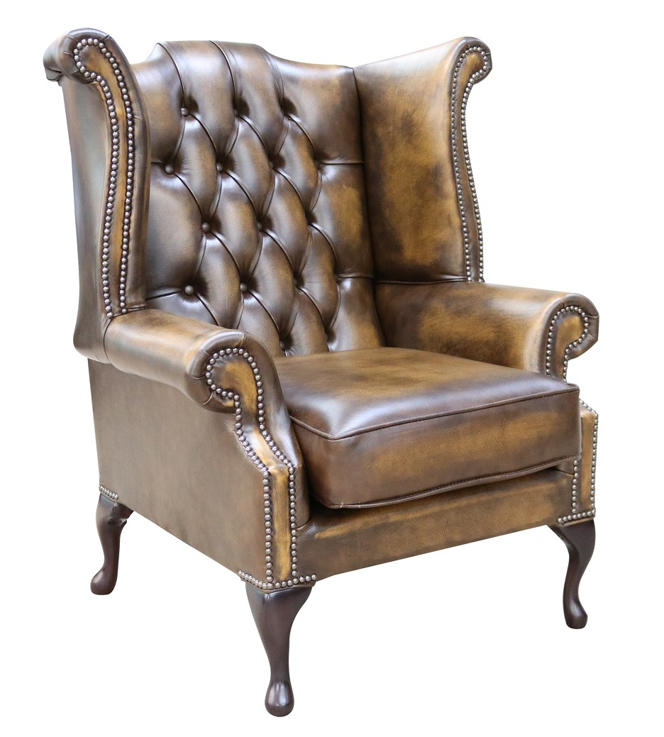 Gold Chesterfield Queen Anne Wing Chair Designersofas4u