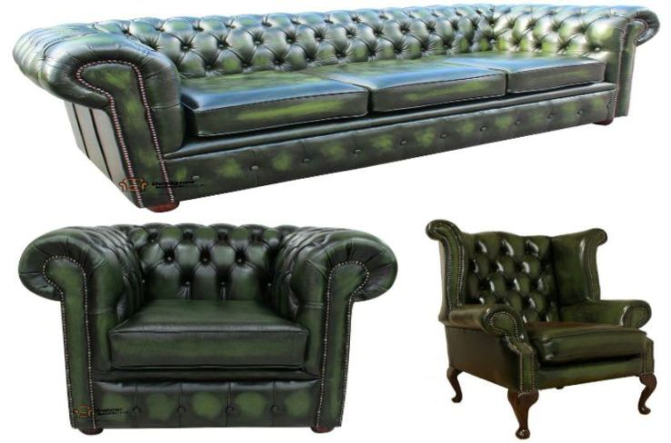 Chesterfield Leather 3 Seater / Wing Chair / Club Chair Sofa Offer Antique Green