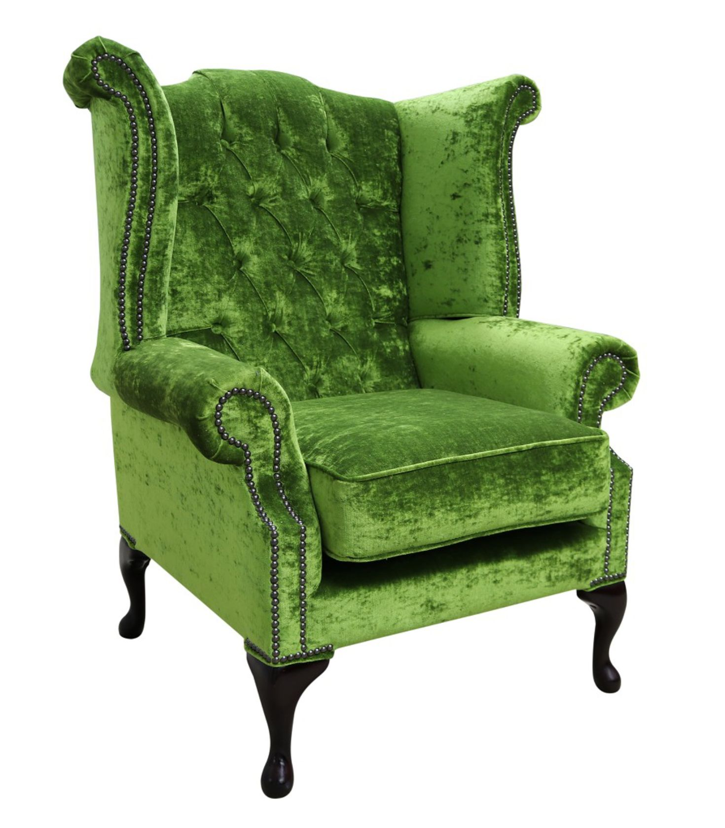 Green Chesterfield Queen Anne High Back, Green Velvet Wing Chair