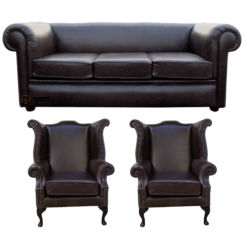 Chesterfield Hampton 3 Seater Settee + 2 x  Wing Chairs Old English Smoke Leather Sofa Suite Offer