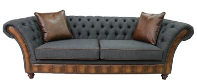 Chesterfield Jepson 3 Seater Sofa Settee Antique Tan Leather Charcoal Grey Fabric