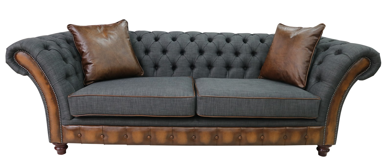 Tan And Grey Chesterfield Jepson 3 Seater Sofa Settee | DesignerSofas4U