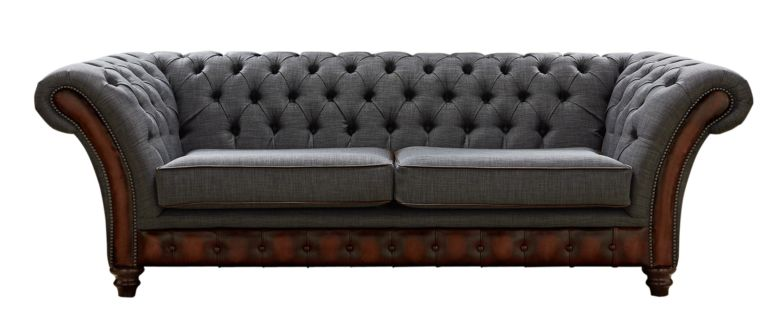 Chesterfield Jepson 3 Seater Sofa Settee Antique Rust Leather Marinello Pewter