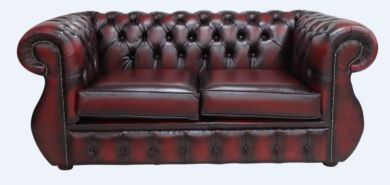 Chesterfield Kimberley 2 Seater Antique Oxblood Leather Sofa Offer