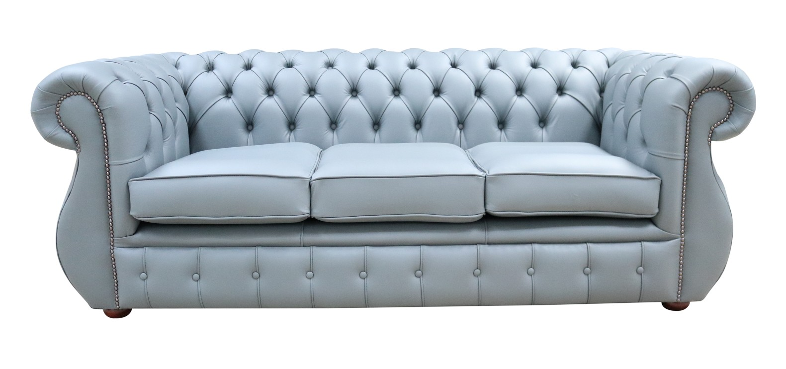 Details about Chesterfield Original Kimberley 3 Seater Shelly Piping Grey Real Leather Sofa