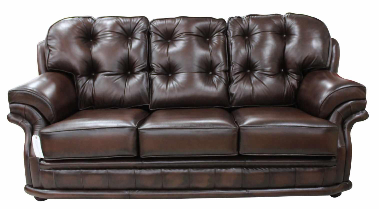 Rub Off Antique Brown leather Chesterfield Knightsbridge 3 Seater Settee  Traditional Sofa | DesignerSofa4U