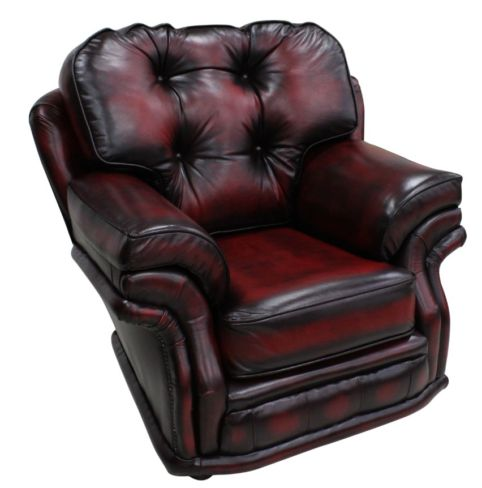 Chesterfield Knightsbridge 1 Seater Armchair Traditional Chair Antique Oxblood leather