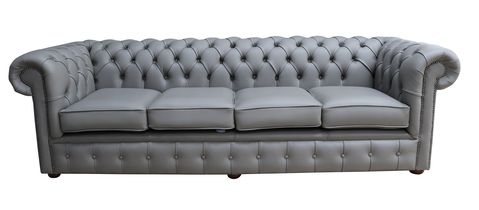 Chesterfield 4 Seater Settee Silver Grey Leather Sofa Offer