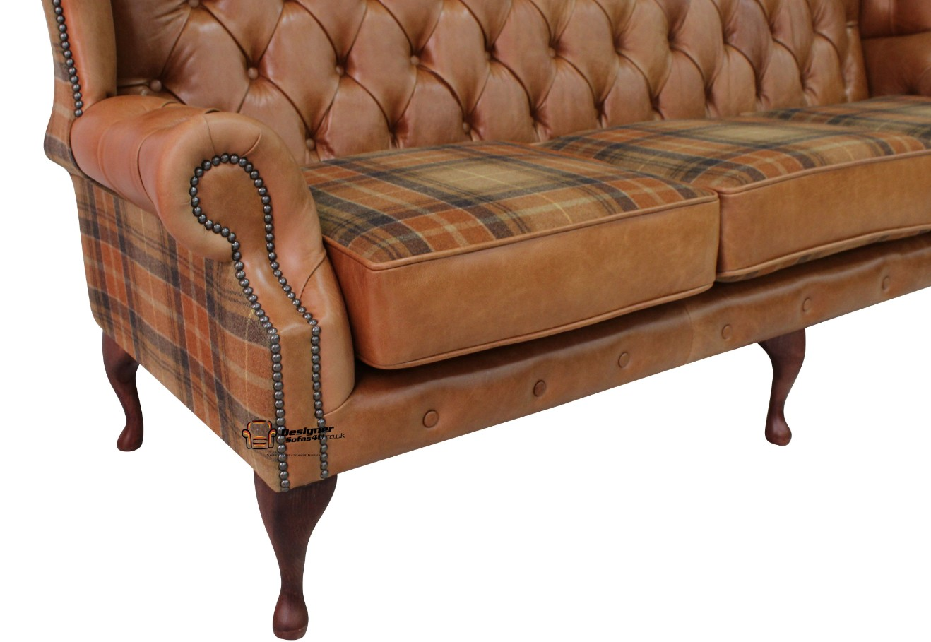 068faf9b84070 Ludlow Tan Chesterfield 3 Seater High Back sofa