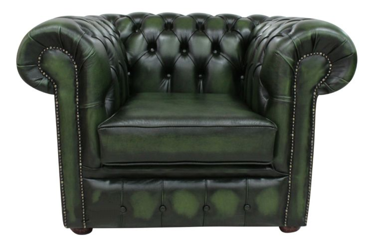 DesignerSofas4U | Buy antique green leather Chesterfield club armchair