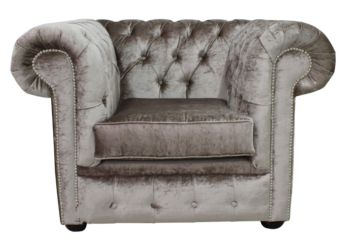 Chesterfield Low Back Club ArmChair Boutique Beige Velvet Fabric