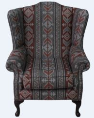 Chesterfield Saxon Mallory High Back Wing Chair Tribal Boho Bohemian Fabric