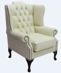 Chesterfield Mallory Flat Wing High Back Wing Chair Shelly Cream Leather