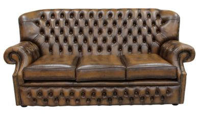 Monks Chesterfield 3 Seater Antique Tan Leather Sofa Offer