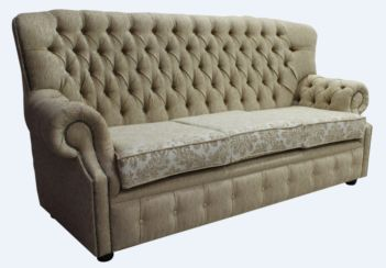 Monks Chesterfield 3 Seater Cadiz Mink Fabric Sofa Offer