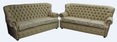 Monks Chesterfield 3+3 Seater Cadiz Mink Fabric Sofa Suite Offer