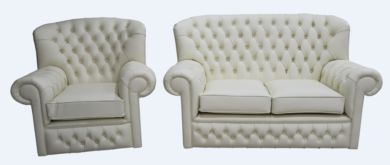Monks Thomas Chesterfield 2+1 Seater Cottonseed Cream Leather Sofa Suite Offer