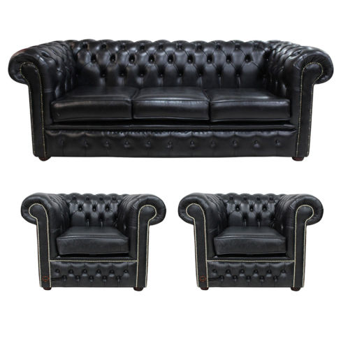Chesterfield 3 Piece Leather Suite Three Seater Sofa + 2 x Club Chairs Old English Black