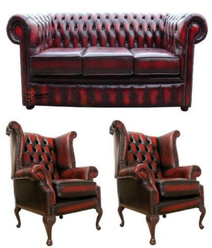Chesterfield Leather 3 Seater / Wing Chair / Wing Chair Sofa Offer Antique Oxblood