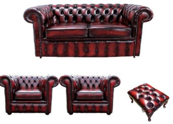Chesterfield 2 Seater Sofa + 2 x Club Chairs + Footstool Leather Sofa Suite Offer Antique Oxblood