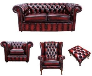Chesterfield 2 Seater Sofa + Club Chair + Mallory Wing Chair + Footstool Leather Sofa Suite Offer Antique Oxblood