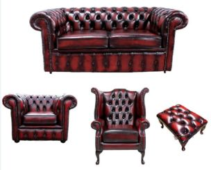 Chesterfield 2 Seater Sofa + Club Chair + Queen Anne Wing Chair + Footstool Leather Sofa Suite Offer Antique Oxblood