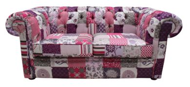 Chesterfield Patchwork Fiesta 2 Seater Settee fabric Sofa Offer