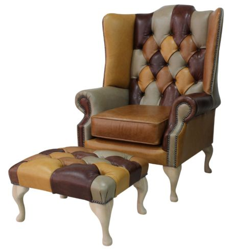 Chesterfield Prince's Patchwork Old English Leather Wing Chair + Footstool