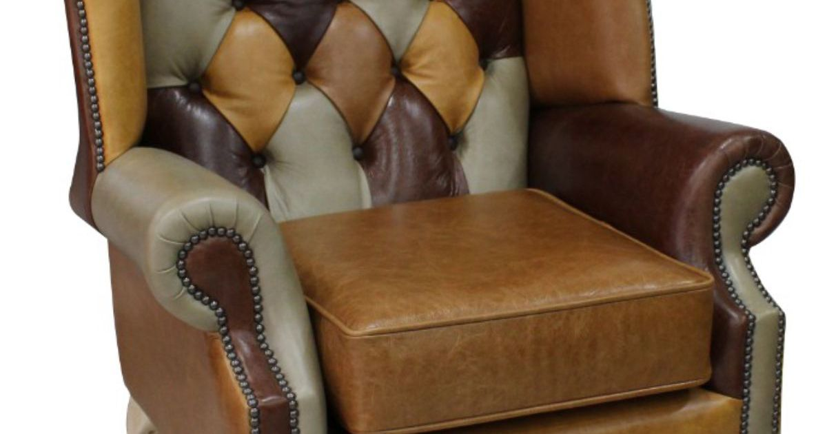 Chesterfield Prince S Patchwork Old English Leather Wing Chair