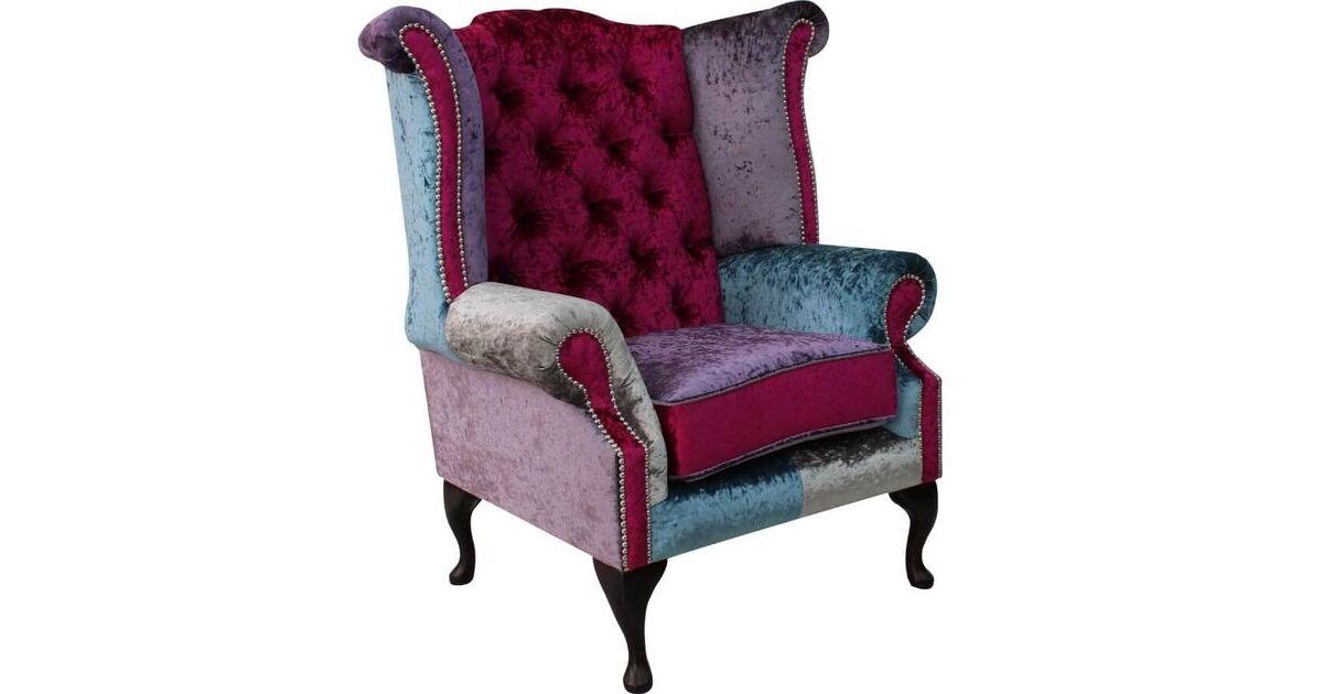 Chesterfield Patchwork Velvet Queen Anne Wing Chair Shimmer
