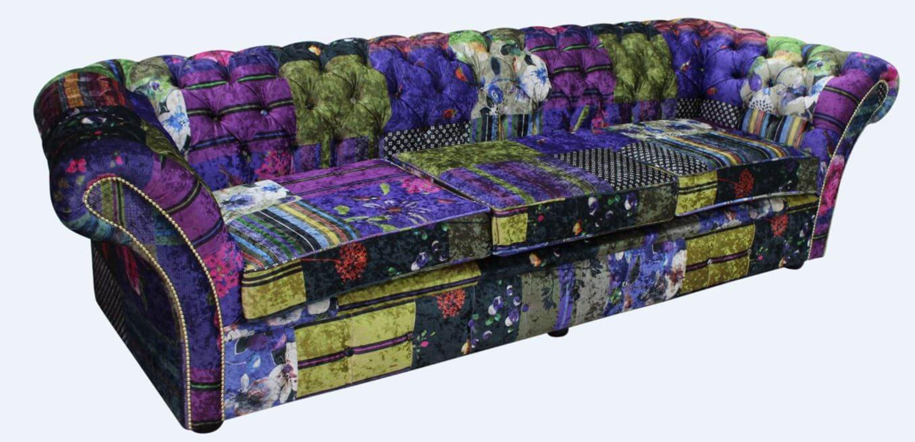 Chesterfield Balmoral Patchwork 4 Seater Sofa Settee London Multi Velvet